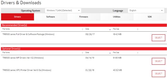canon pixma tr8520 driver download screenshot